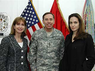 Angelina Jolie with Gen. David Petraeus (AP)