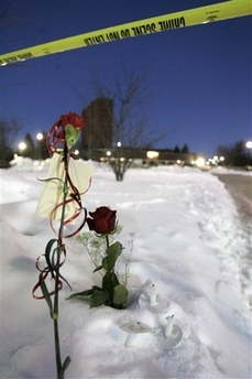 Northern Illinois University makeshift memorial