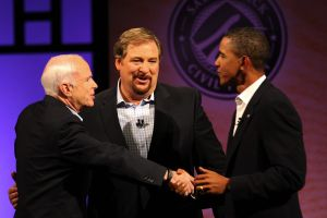 John McCain, Rick Warren, and Barack Obama at Saddleback Church