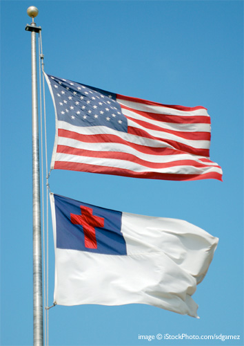 U.S. and Christian flag